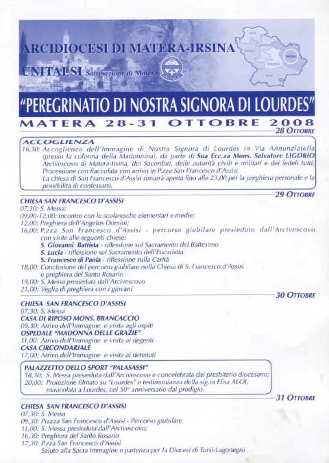 PEREGRINATIO DI NOSTRA SIGNORA DI LOURDES