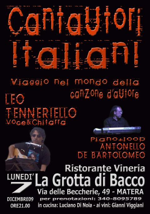 """Live """"Cantautori Italiani"""" 7 dicembre"""