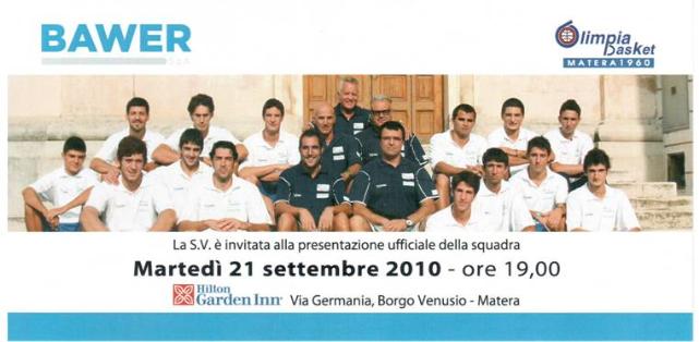 Invito presentazione squadra Bawer 2010/2011