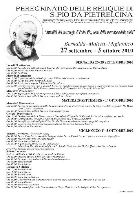 Peregrinatio delle Reliquie di S. Pio da Pietralcina