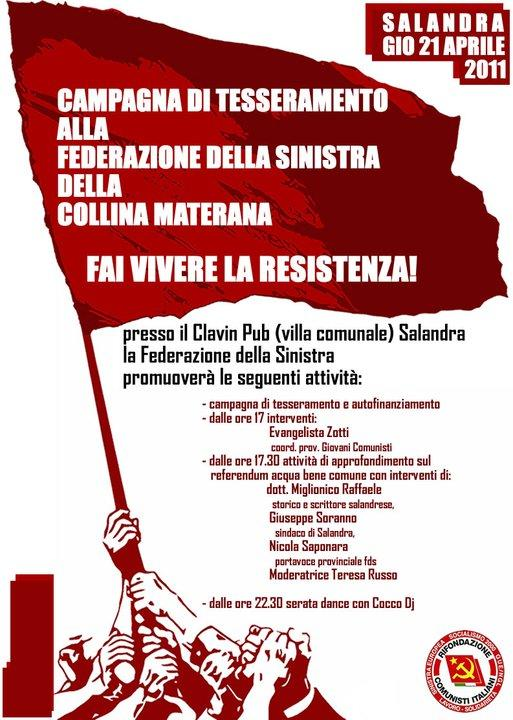 CAMPAGNA DI TESSERAMENTO ALLA FEDERAZIONE DELLA SINISTRA - 21 aprile 2011
