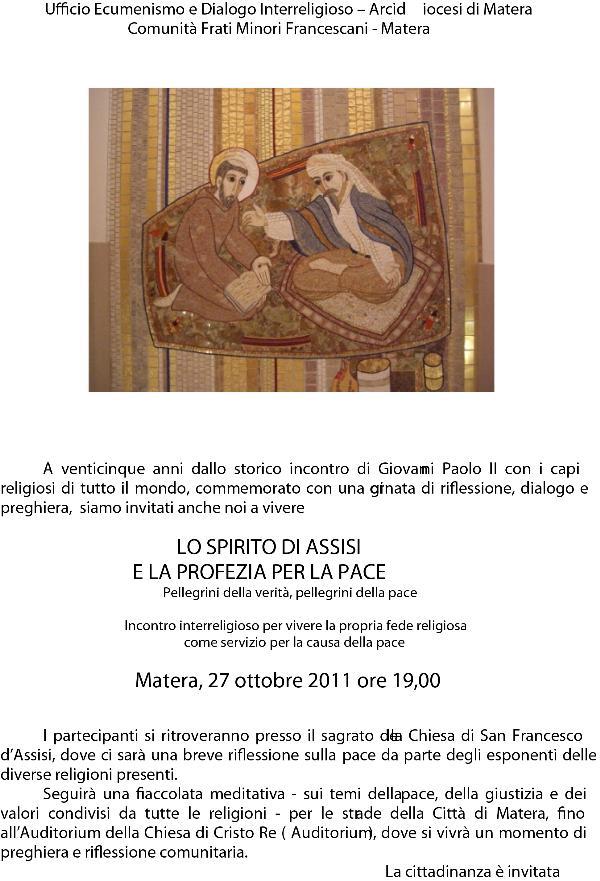 LO SPIRITO DI ASSISI E LA PROFEZIA PER LA PACE - 27 ottobre 2011