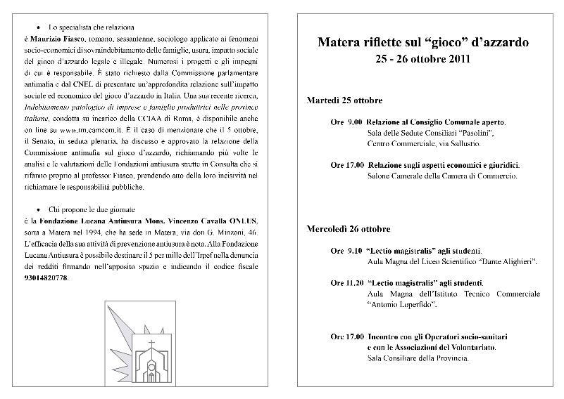 """Matera riflette sul """"gioco"""" d´azzardo - 25 e 26 ottobre 2011"""