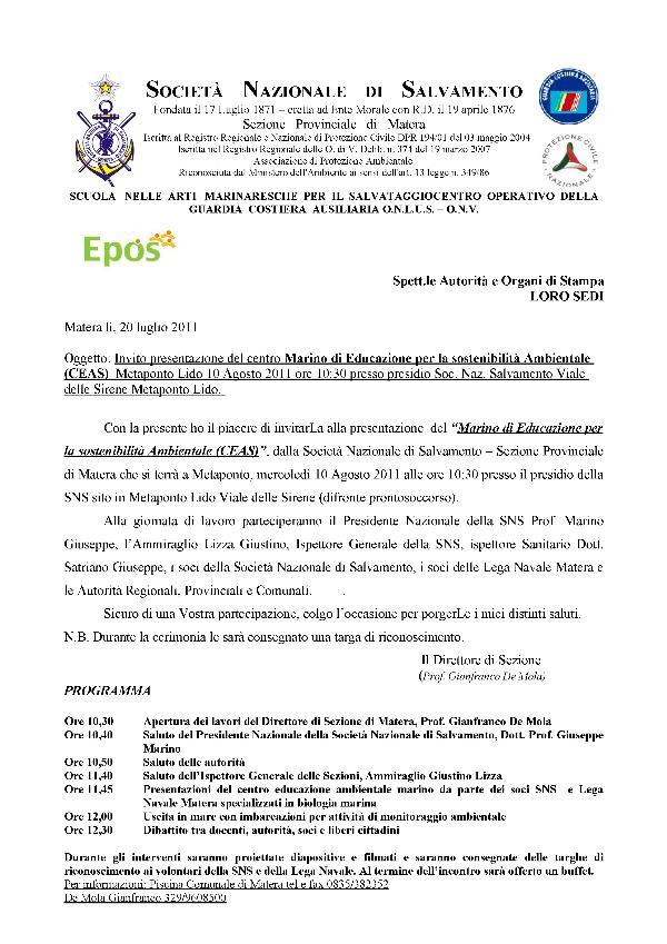Presentazione Centro Marino di Educazione per la sostenibilità Ambientale - 10 agosto 2011