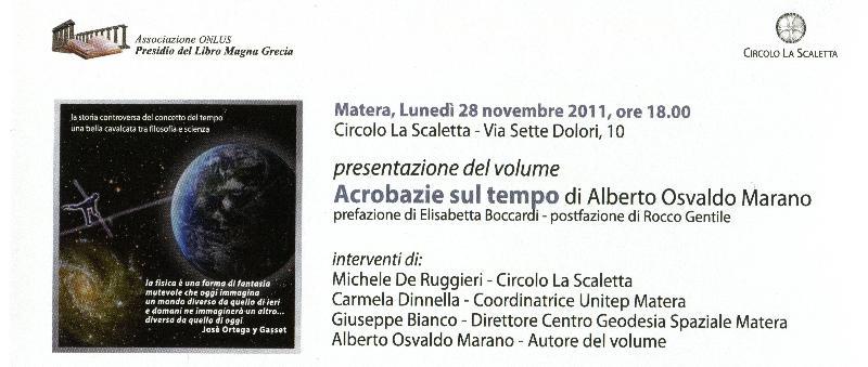"""Presentazione di """"Acrobazie sul tempo"""", un libro di Alberto Marano"""