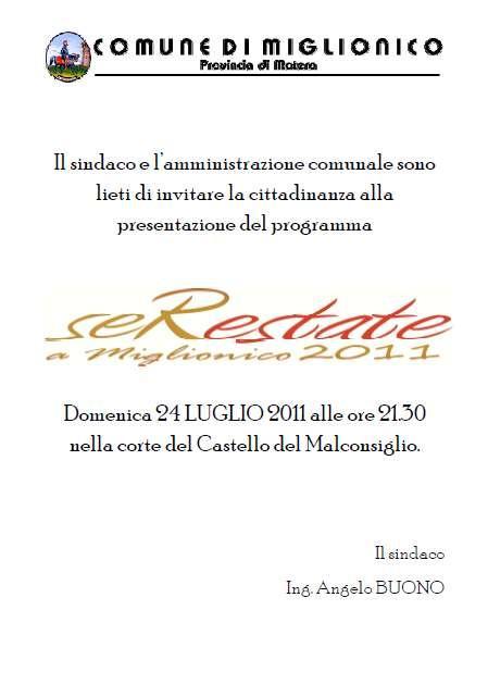 Presentazione Serestate a Miglionico 2011