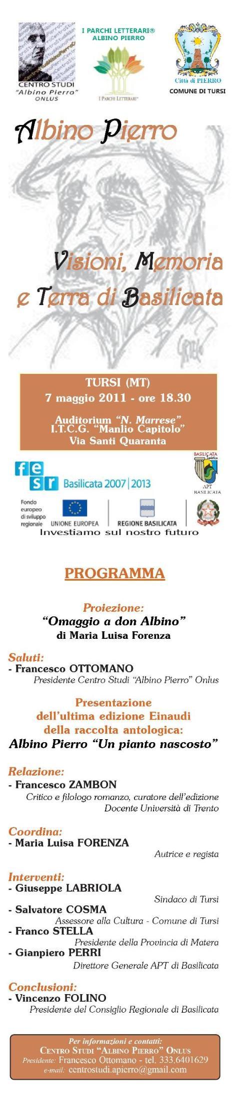 Visioni, Memoria e Terra di Basilicata - 7 maggio 2011