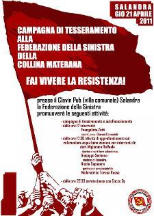 CAMPAGNA DI TESSERAMENTO ALLA FEDERAZIONE DELLA SINISTRA - 21 aprile 2011 - Matera