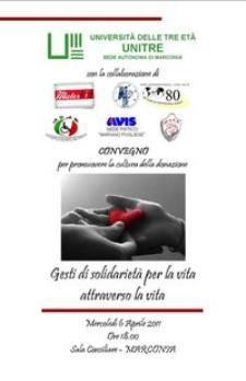 Gesti di solidarietà per la vita attraverso la vita  - 6 aprile 2011 - Matera