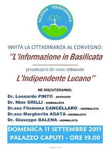 L'informazione in Basilicata - 11 settembre 2011 - Matera