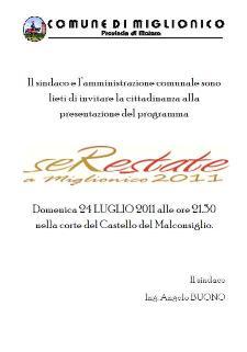 Presentazione Serestate a Miglionico 2011 - Matera