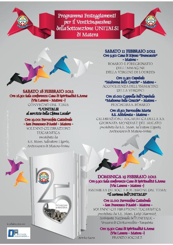 25esimo anniversario sottosezione unitalsi evento for 25esimo anniversario