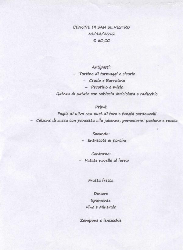 Cenone di San Silvestro alla Trattoria del Caveoso - Capodanno 2013