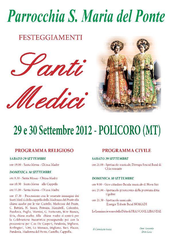 Festa Santi Cosma e Damiano a Policoro - 29 e 30 settembre 2012