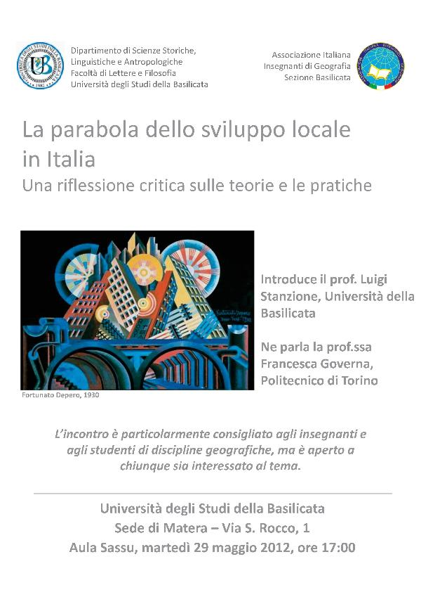 La parabola dello sviluppo locale in Italia - 29 maggio 2012