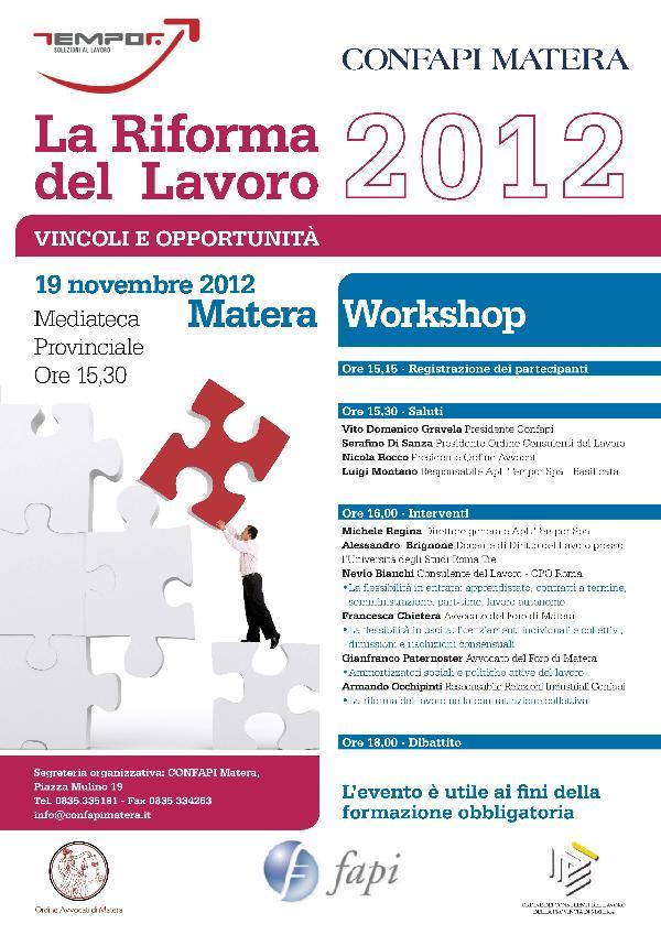 La riforma del lavoro: vincoli e opportunità - 19 novembre 2012