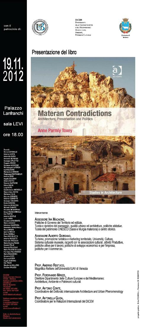 Materan Contradictions. Architecture, Preservation and Politics - 19 novembre 2012