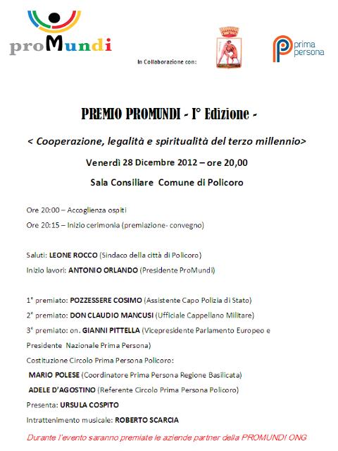 Premio Promundi - 28 dicembre 2012