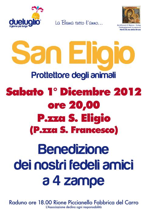 San Eligio - Protettore degli animali - 1 dicembre 2012