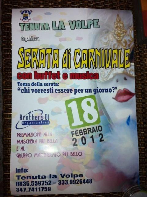 Serata di Carnevale - Tenuta La Volpe