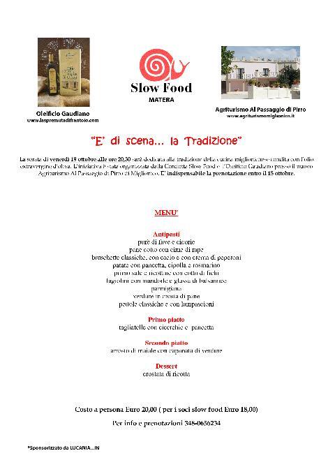 Serata Slow Food a Miglionico - 19 ottobre 2012