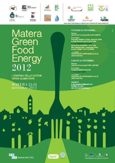 SETTIMANA UNESCO DI EDUCAZIONE ALLO SVILUPPO SOSTENIBILE MATERA GREEN FOOD ENERGY