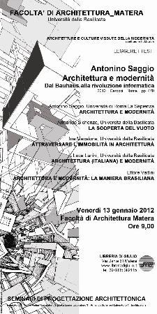 Architetture e culture vissute della modernità  - Matera