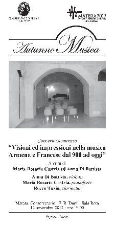Visioni ed impressioni nella musica Armena e Francese dal 900 ad oggi - 14 novembre 2012 - Matera