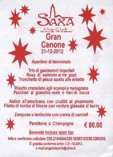 Cenone di San Silvestro al Ristorante Saxa  - Matera