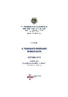 IL TRAPIANTO D'ORGANO IN BASILICATA - 23 maggio 2012 - Matera