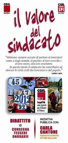 Il valore del sindacato - 23 marzo 2012 - Matera