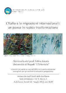L'Italia e le migrazioni internazionali: un paese in rapida trasformazione - 21 maggio 2012 - Matera
