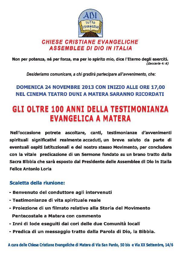 Gli oltre 100 anni della testimonianza Evangelica a Matera - 24 novembre 2013
