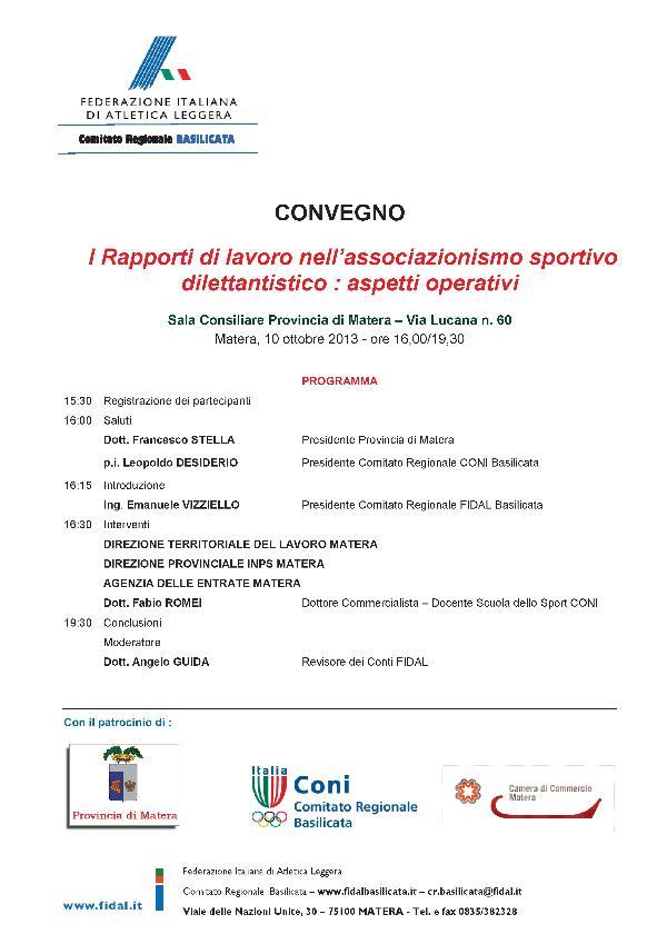I Rapporti di lavoro nell´associazionismo sportivo dilettantistico : aspetti operativi - 10 ottobre 2013
