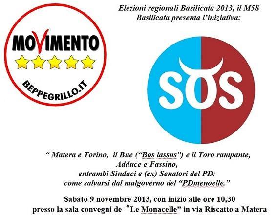 """Il Movimento 5 Stelle di Basilicata presenta l´iniziativa """"SOS"""""""