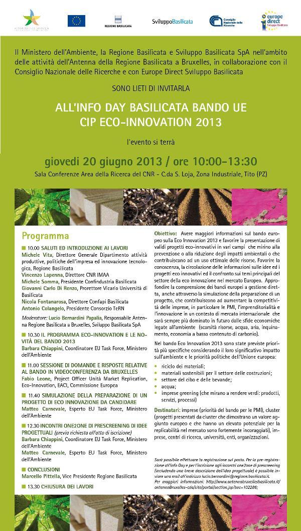 InfoDay Basilicata bando UE CIP Eco-Innovation 2013