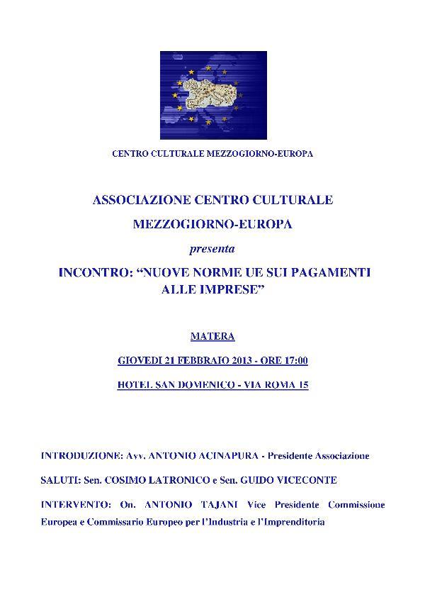 NUOVE NORME UE SUI PAGAMENTI ALLE IMPRESE - 21 febbraio 2013