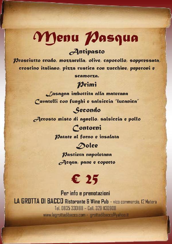Pranzo di pasqua 2013 al ristorante la grotta di bacco - Menu per ospiti a pranzo ...