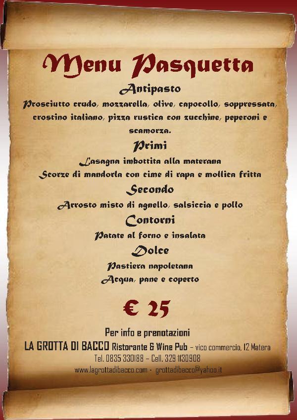 Pranzo di pasquetta 2013 al ristorante la grotta di bacco - Menu per ospiti a pranzo ...