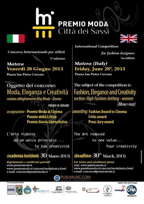 """Premio Moda """"Citt� dei Sassi"""" 2013"""