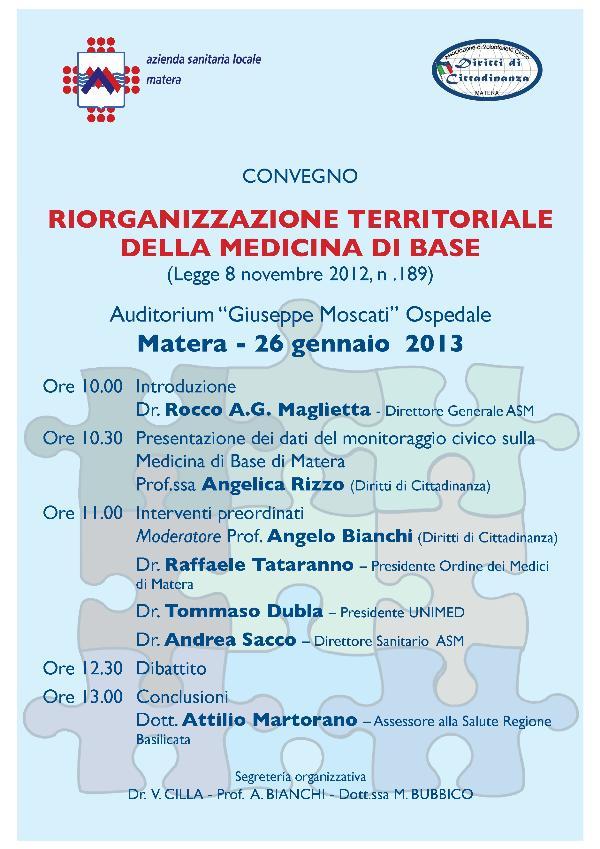 Riorganizzazione territoriale della Medicina di Base - 26 gennaio 2013