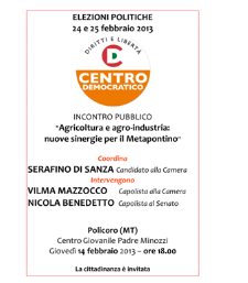 Agricoltura e agroalimentare: nuove sinergie per il Metapontino - 14 febbraio 2013 - Matera