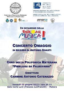 Concerto in ricordo di Antonio Guanti - 21 giugno 2013  - Matera