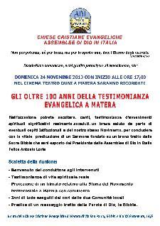 Gli oltre 100 anni della testimonianza Evangelica a Matera - 24 novembre 2013 - Matera