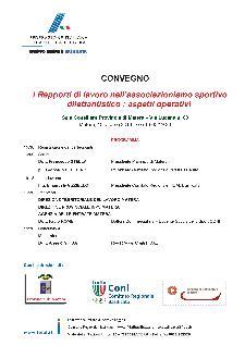 I Rapporti di lavoro nell'associazionismo sportivo dilettantistico : aspetti operativi - 10 ottobre 2013 - Matera
