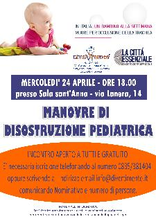 Manovre di disostruzione pediatrica - 24 aprile 2013 - Matera