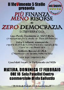 PIU' FINANZA, MENO RISORSE = ZERO DEMOCRAZIA - 17 dicembre 2013 - Matera