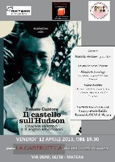 """Presentazione di """"Il Castello sull'Hudson, Charles Paterno e il sogno americano"""" - Matera"""