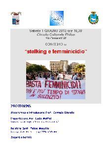 Stalking e femminicidio - 1 giugno 2013 - Matera