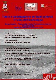 Tutela e valorizzazione dei beni culturali. Il ruolo dell'archeologo - 19 gennaio 2013 - Matera